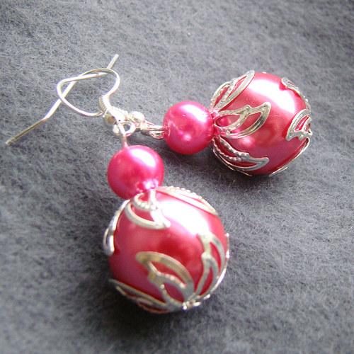 náušnice  velké růžové perličky s lístky