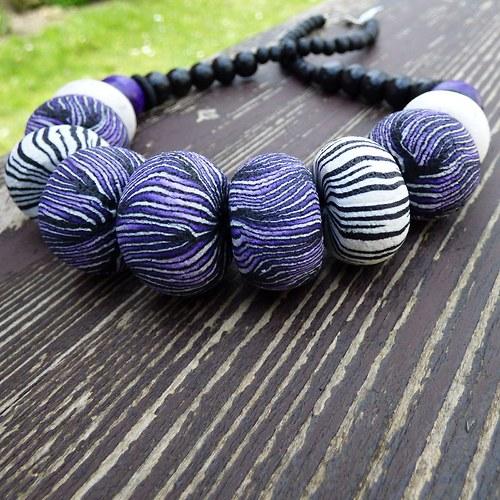 SLEVA Korále Purple & Black