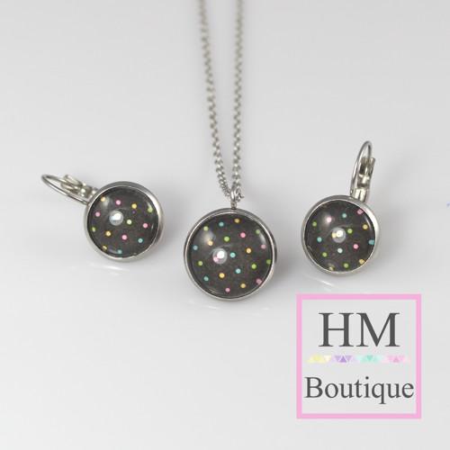 ocelový set - náušnice a náhrdelník barevné tečky