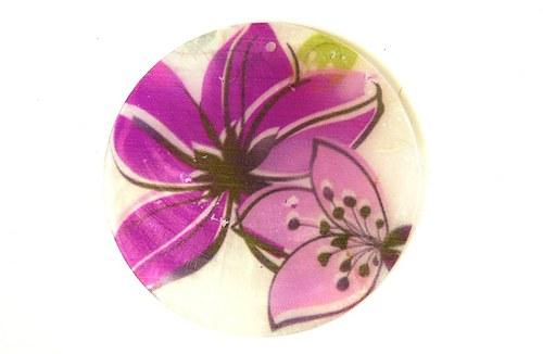 140 perleťové placky tenké- květiny fialové