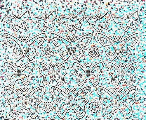 Samolepící kontury stříbrné třpytivé - motýli