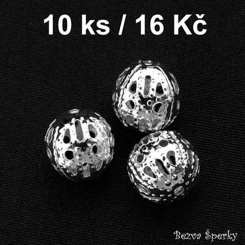 Stříbrný ozdobný korálek 8 mm, 10 ks