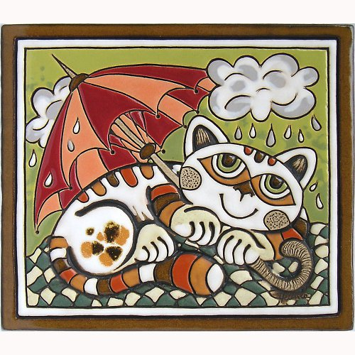 Keramický obrázek - Kočka s deštníkem K-103-Z