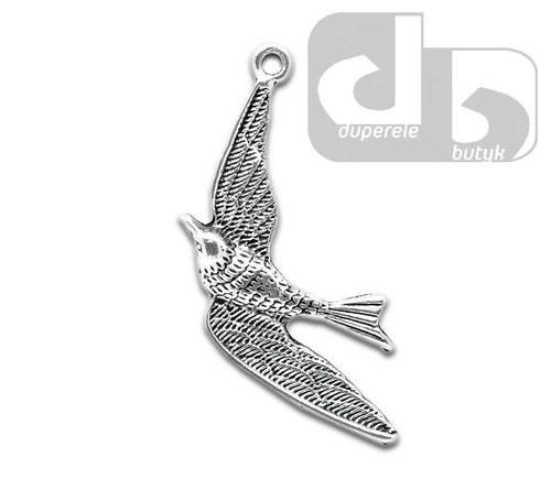 Stříbrný přívěšek - pták 36 x 21 mm /1 ks