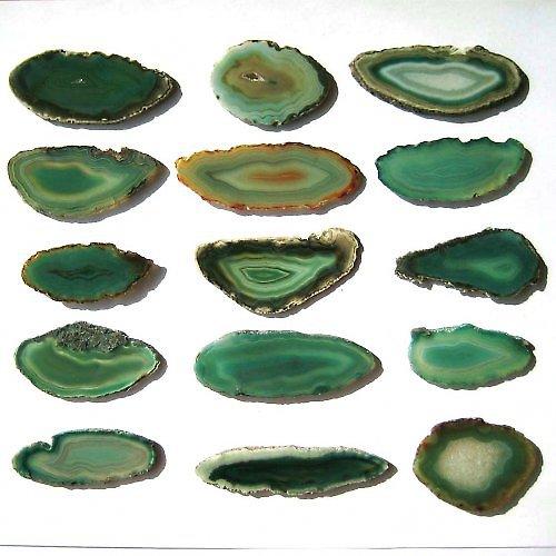 Achátový Plátek 3-10cm - Zelený