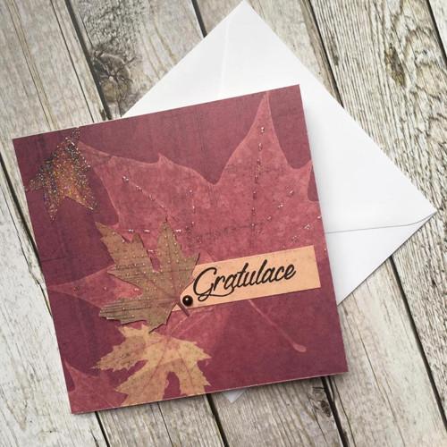 Podzimní gratulace s listem a kamínkem