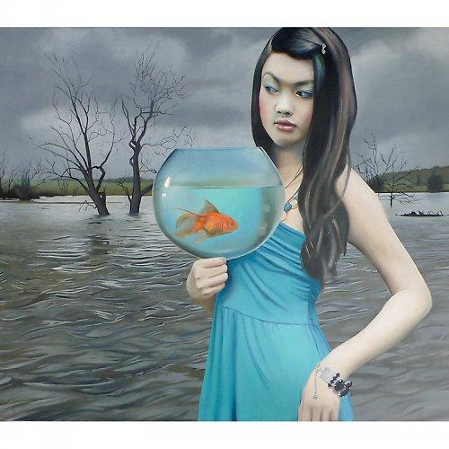 Akvárium - olejomalba na plátně