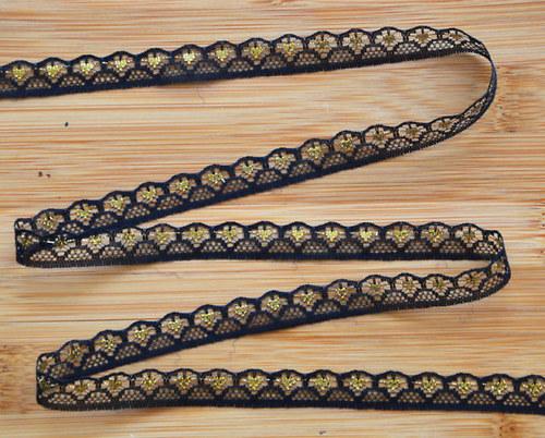 28. Krajka syntetika černá se zlatým,14 mm