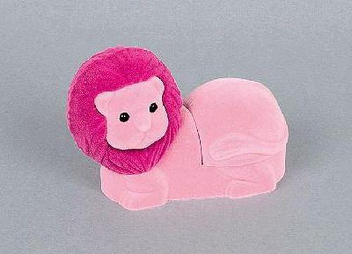 Sametová krabička na šperky - růžový lev