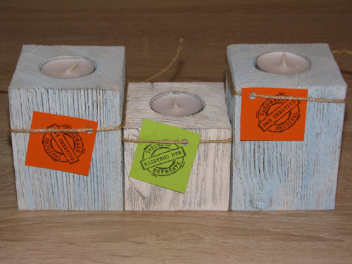 3-dílný svícen na čajové svíčky ve stylu Provance