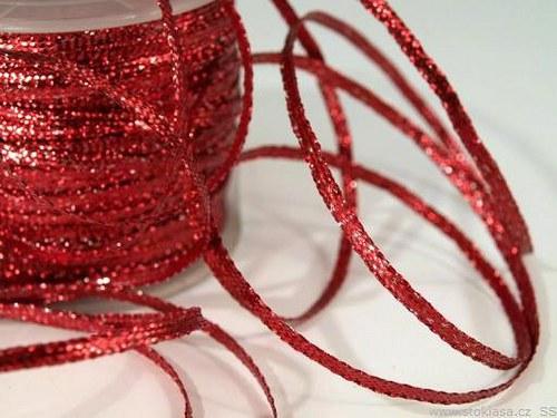 Stuha s lurexem š.3mm červená tmavá