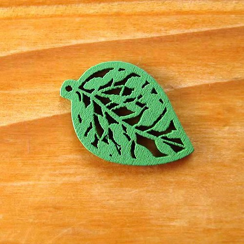 Dřevěný Lísteček - 2ks - Zelený