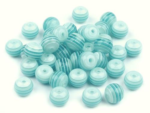 Plastové korálky Ø 8mm s proužkem - modré (10ks)