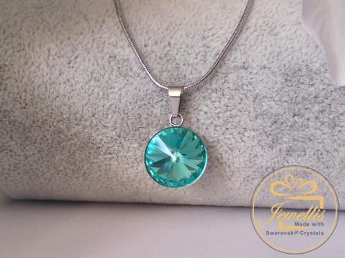 Ocelový náhrdelník Swarovski - Light Turquoise