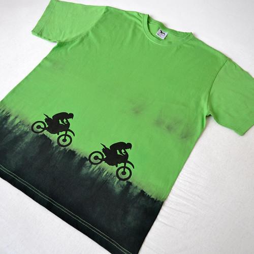 Motorkářské triko zeleno-černé L