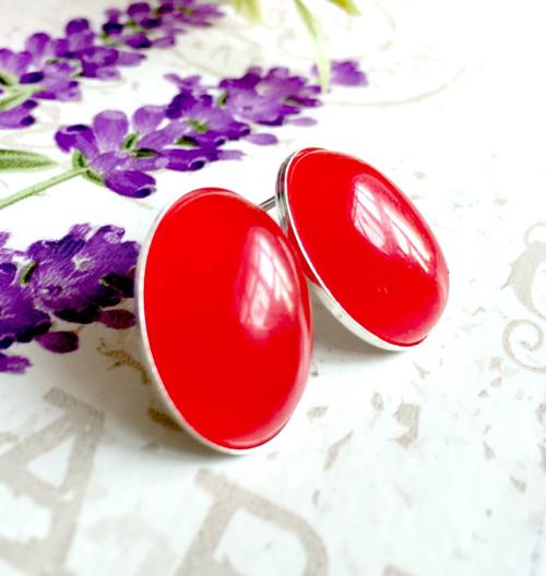 Stříbrné puzetové naušnice červený jadeit AG925