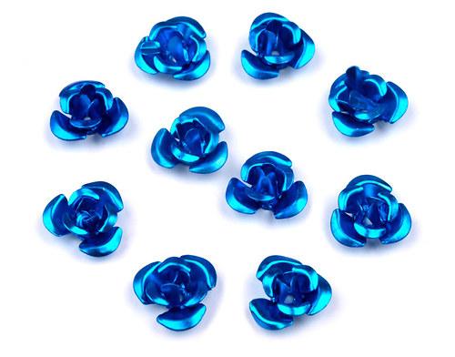 Růžička Ø10mm kovová modrá, 10ks