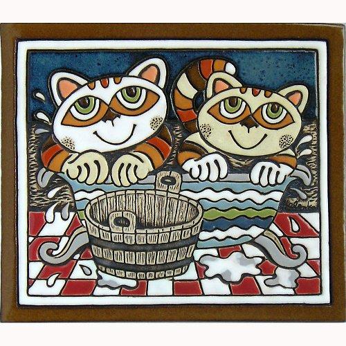 Keramický obrázek - Kočky ve vaně K-136-M