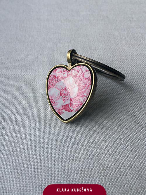 Srdce z porcelánu - přívěsek
