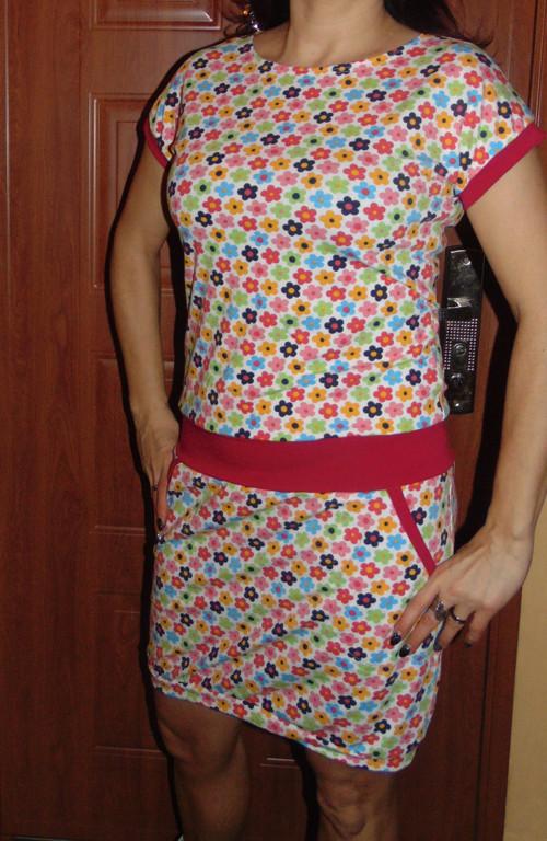 šaty louka na bílé-vel L