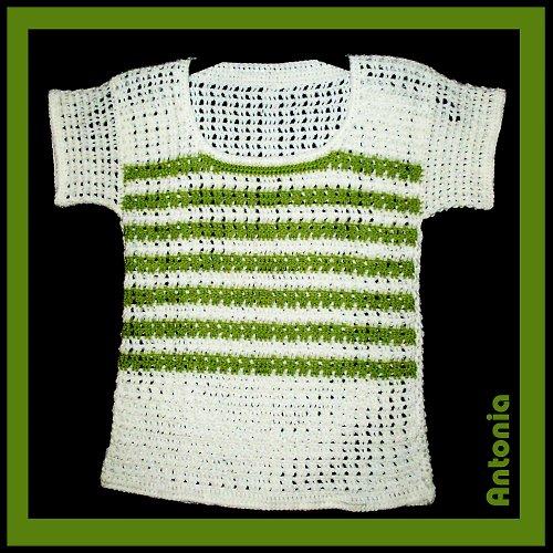 Bílá halenka se zelenými proužky, 152/158