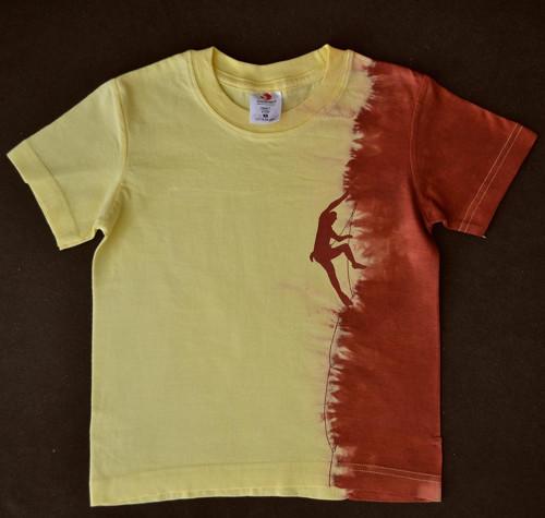 Žluto-vínové dětské tričko s horolezcem (5-6 let)