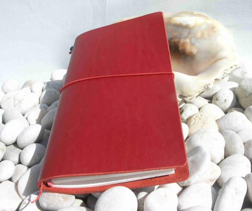Diář / notes červený kůže 16,5x10,5 cm