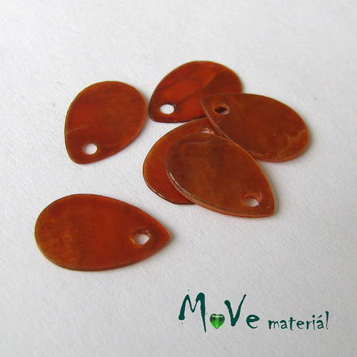 Perleťové penízky kapičky 13x9mm, 6ks, oranžové