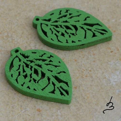 Dřevěný list zelený - 4 ks