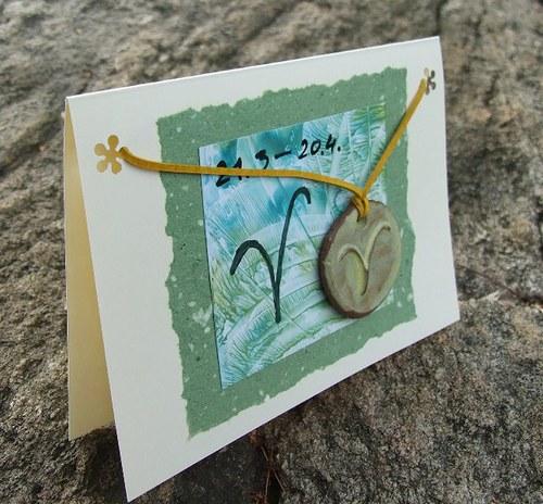 Přáníčko s keramickým přívěškem - znamení Beran