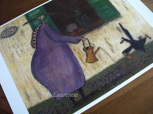 Fidelius a Laurencie zalévají fialky - reprodukce