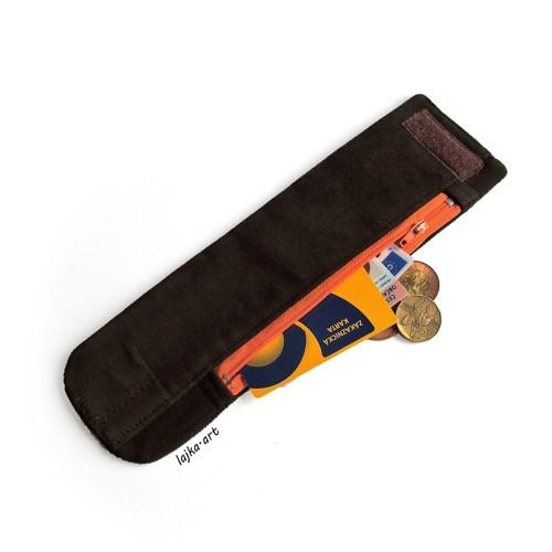 textilní náramek s kapsičkou - hnědá a oranžová