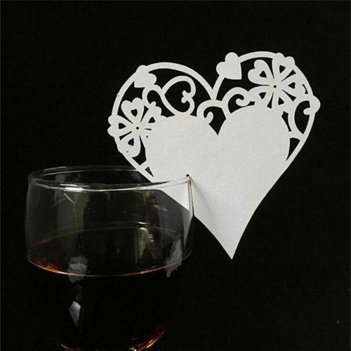 Svatební jmenovka na skleničky SRDCE