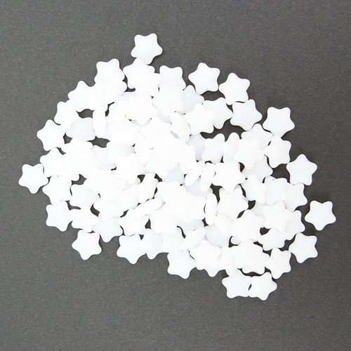 Skleněná HVĚZDA 12x12mm - bílá (20ks)