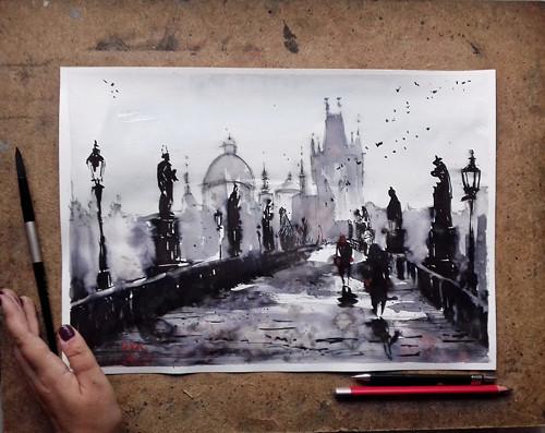 Karluv Most,Praha,Prague,Velky originalni obraz A3