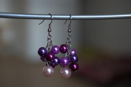 Perlové náušnice - fialové