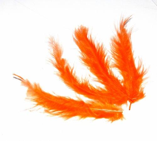 Peříčka - pštrosí, 4 ks, oranžová