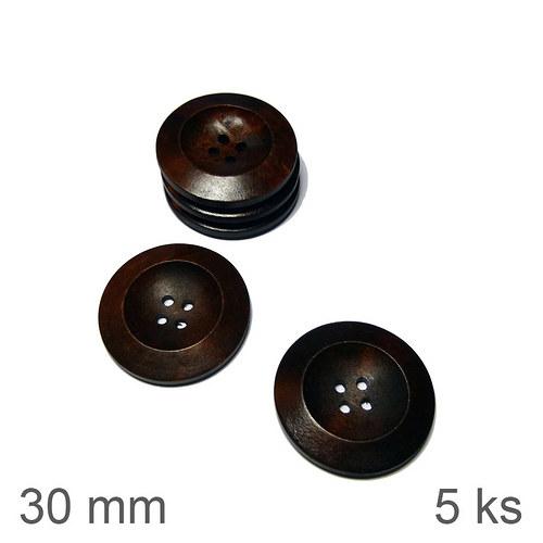 Knoflíky dřevěné 30 mm tmavě hnědé 5 ks