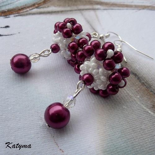 Náušnice purpurové květy