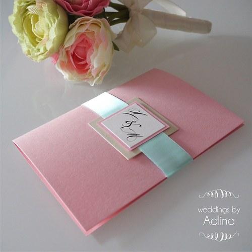 svatební oznámení_mint and pink