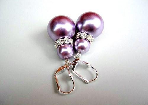 Lilac pearl náušnice