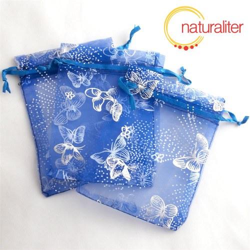 Dárkový organzový sáček modrý s motýly 12x9cm