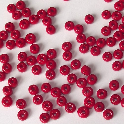 Skleněné korálky - rokajl 5/0 červený, sytý