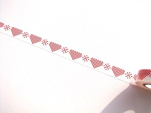 Páska: Srdíčka a vločky na bílé (1,5 x 33 cm)