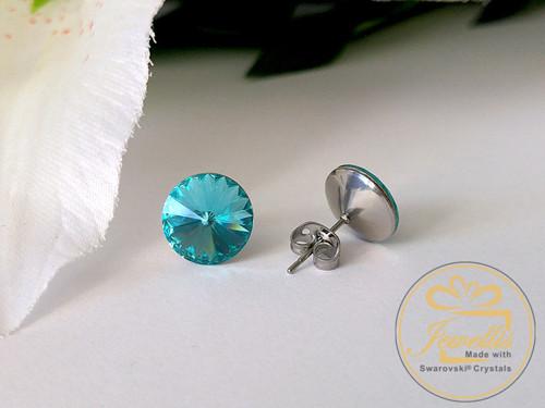 Ocelové náušnice Swarovski - Light Turquoise