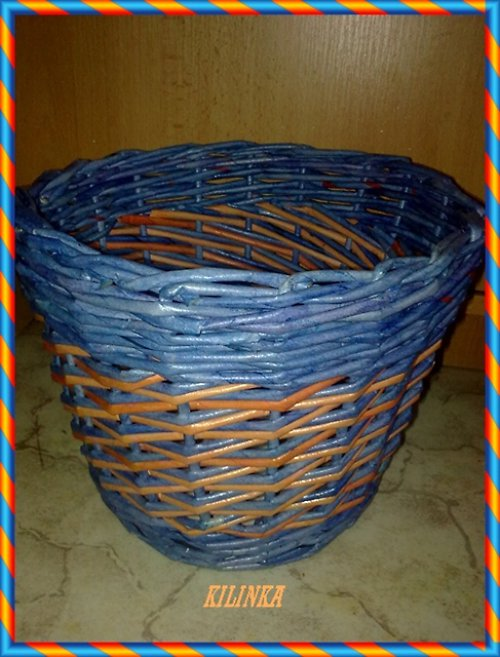 Modro-oranžový obal na kytku