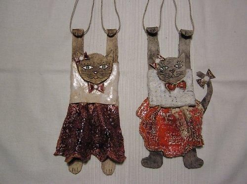 keramická kočka na zavěšení