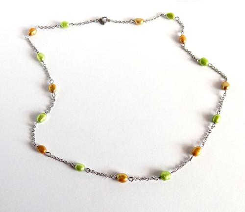 Náhrdelník z barevných perliček a oceli