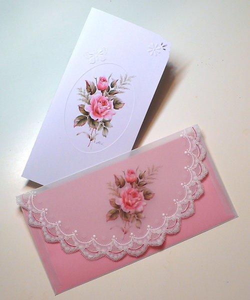 115. Růžičkové  blahopřání s obálkou