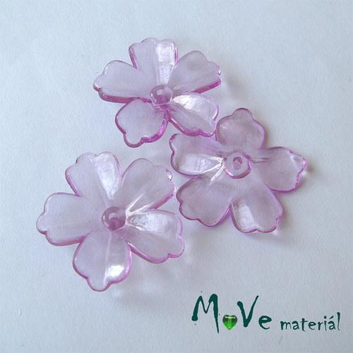 Akrylový transparentní květ 28mm, 4ks, fialový